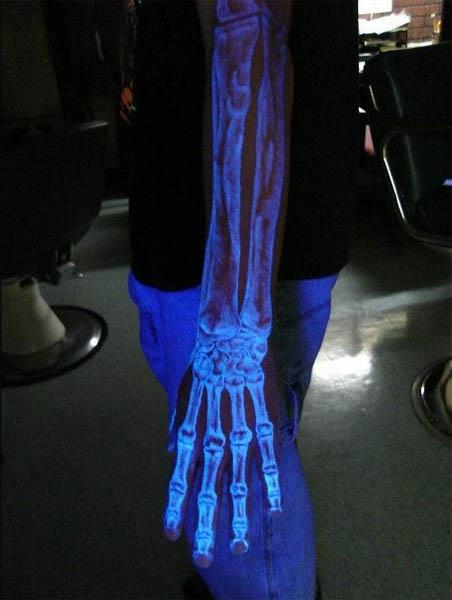 A UV (ultra violet) black light skeleton tattoo kinda makes it look like