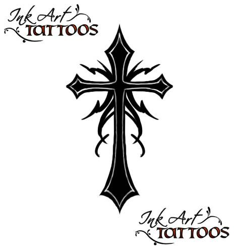 Tribal Cross Tattoo by