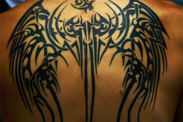 Tribal Wing Tattoos On Back