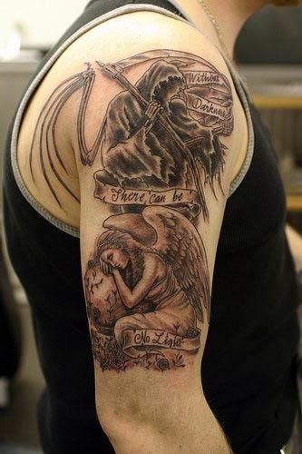 Grim Reaper Angel Tattoo Grim Reaper and Angel Tattoo