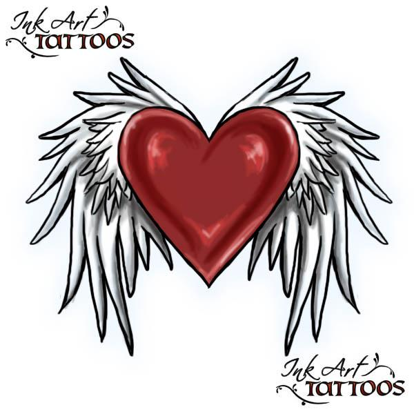 heart with wings tattoo flash Heart with Wings Tattoo Flash