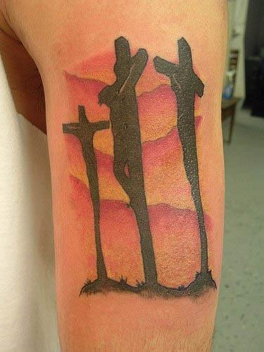 jesus on cross tattoo. jesus on cross tattoo.