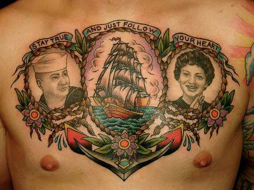 Ship Anchor Portraits Tattoo). vintage anchor tattoos
