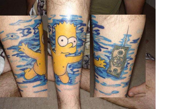 BART NEVERMIND TATTOO. Spoofing the Nirvana Nevermind cover, naked Bart is