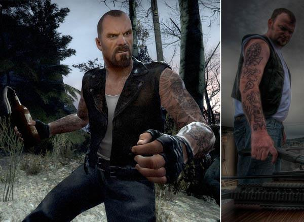 Left 4 Dead Francis Tattoos iat Video Game Characters with Cool Tattoos