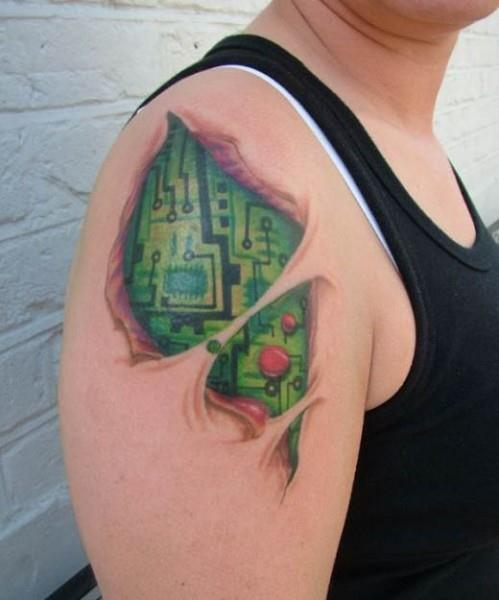 circuit board tattoo 499x600 Circuit Board Tattoo