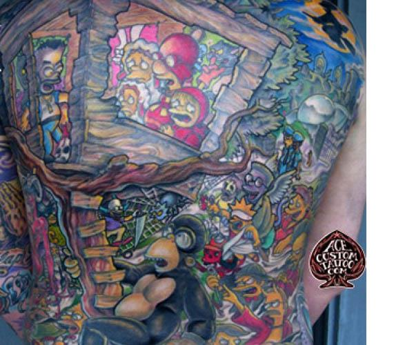 epic simpsons back piece Celebrate 20 Years of The Simpsons with 20 Tattoos