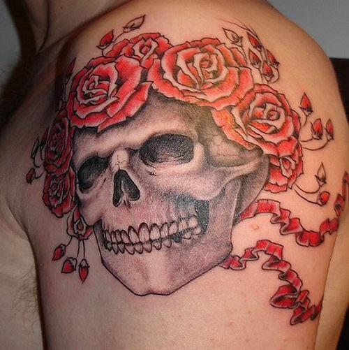 Tan Rose Tattoo Biker Hats grateful deadl rose skull tattoo Grateful Dead