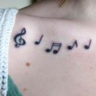 Music Notes Collarbone Tattoo