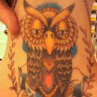 Owl & Blue Rose Neck Tattoo