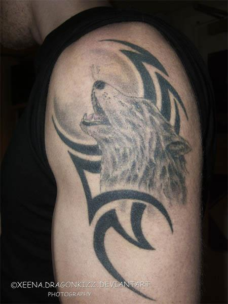 Howling Wolf and tribal tattoo Howling Wolf and Tribal Tattoo