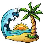 Palm Tree Tropical Island Tattoo Flash