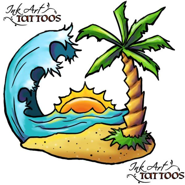 palm tree beach tattoo flash Palm Tree Tropical Island Tattoo Flash