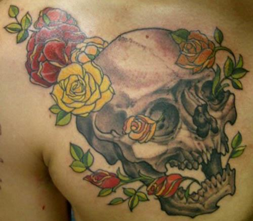 skull red yellow roses tattoo Skull with Red and Yellow Roses Tattoo
