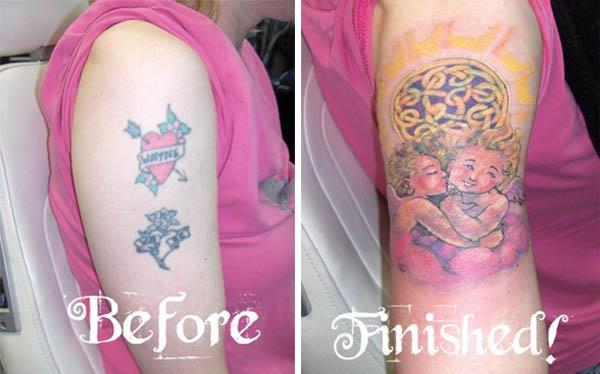 wayne cherub name coverup tattoo Clever Cover Up Tattoos After The Break Up