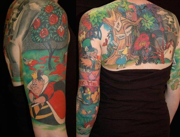 tattoo spans her entire back and both arms retelling the Disney version