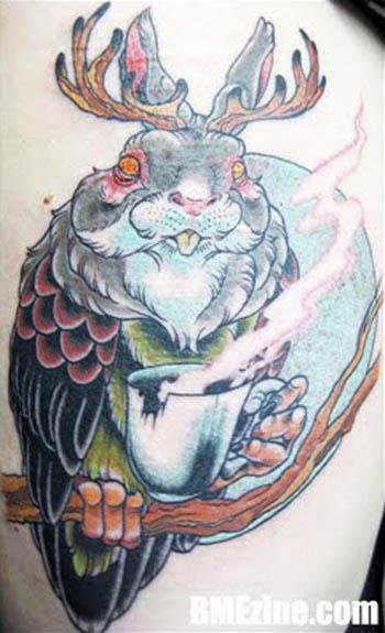 Jackalope owl coffee tattoo 14 Jackalope Tattoos: Each One Weirder Than the Last