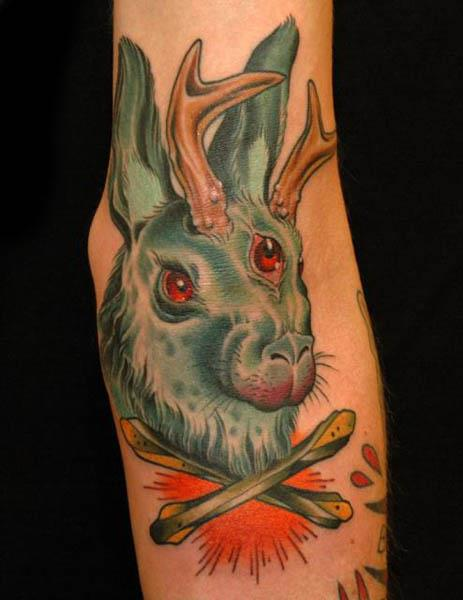 Jackalope with 3 eyes tattoo 10 Jackalope Tattoos: Each One Weirder Than the Last