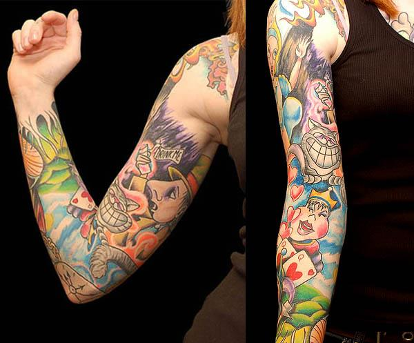 alice in wonderland characters tattoo sleeve Ink in Wonderland: 25 Mad Alice in Wonderland Tattoos