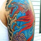 Red and Blue Foo Dog Tattoo Sleeve