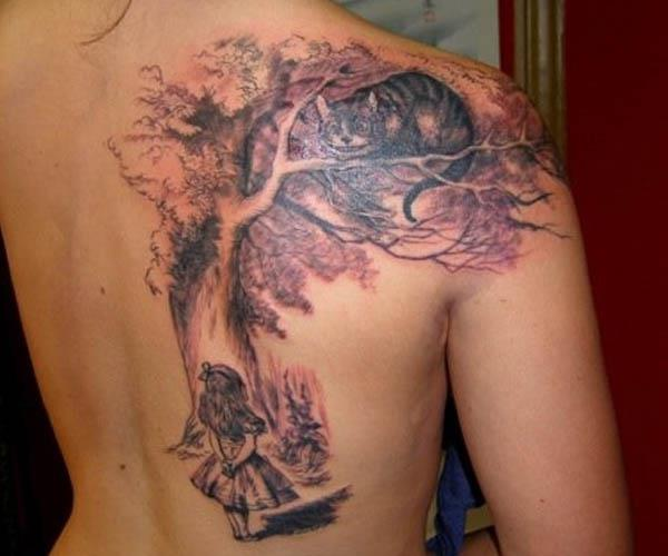 lewis carroll alice cheshire tree tattoo Ink in Wonderland: 25 Mad  Alice in Wonderland Tattoos