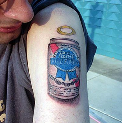 pabst blue ribbon beer tattoo A Sobering Look At Booze Tattoos