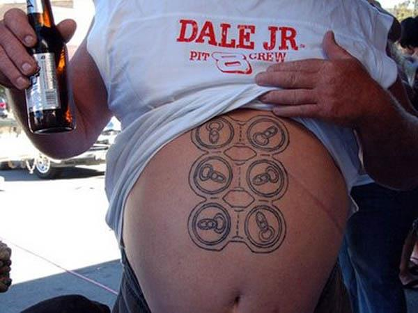 six pack beer tattoo A Sobering Look At Booze Tattoos