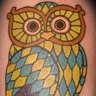 Stained Glass Owl Tattoo