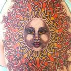 Sun Face with Celtic Rays Tattoo