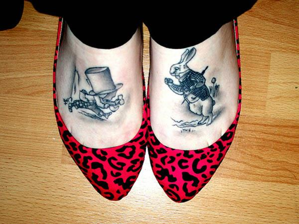 white rabbit mad hatter feet tattoos Ink in Wonderland: 25 Mad Alice in Wonderland Tattoos