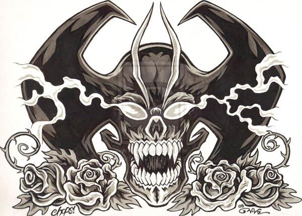 Devilman Skull and Roses by MonsterInk Devilman Skull and Roses Flash by MonsterInk