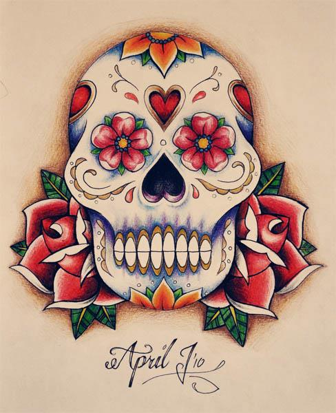 This gorgeous Sugar Skull tattoo flash combines warm colored ...