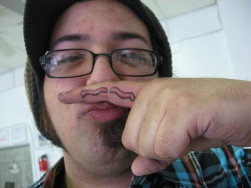 bacon mustache finger tattoo Bacon Tattoos Are Good For Me