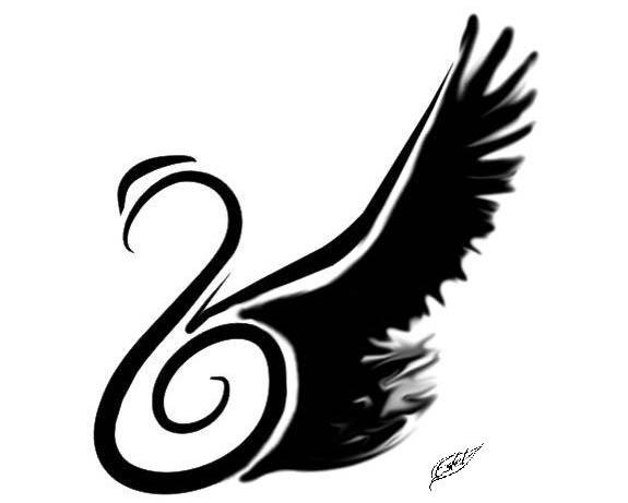 black wing swan tattoo flash Black Wings Swan Tattoo Flash by 1estel