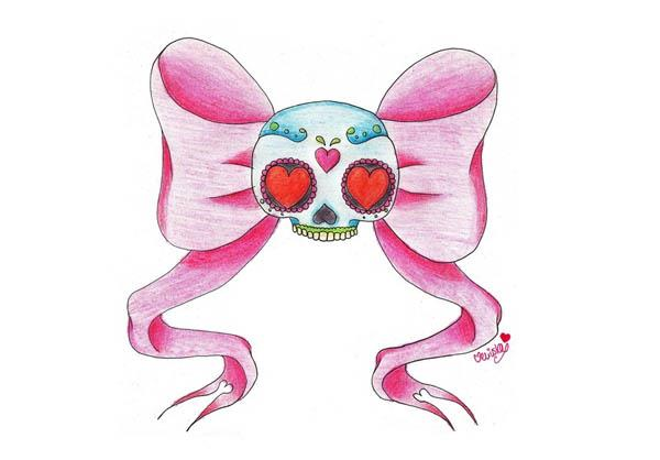 sugar bow girly sugar skull tattoo flash by veriuska Sugar Bow by ...