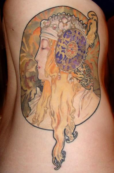 alphonse mucha · art nouveau · tattoo · girl · woman · victorian · detailed